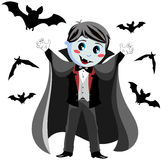 Funny Vampire Kid. Illustration featuring a funny vampire kid in a scary pose surrounding by flying bats isolated on white background. Eps file is available. You Stock Photos