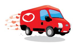 Funny van delivering love. Saint Valentine and love concept Royalty Free Stock Photography