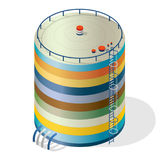 Funny variegated water reservoir isometric building info graphic. Multicoloured water reservoir. Royalty Free Stock Photos