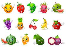 Funny various cartoon fruits Royalty Free Stock Images