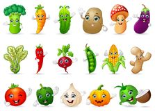 Funny various cartoon vegetables Royalty Free Stock Photography