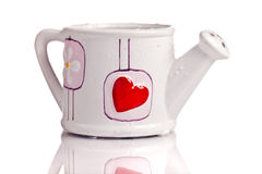 Funny vase with a big red heart Stock Photography