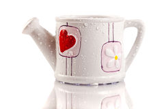 Funny vase with a big red heart Royalty Free Stock Photos
