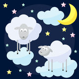 Funny vector background with cartoon moon, clouds, stars and she Royalty Free Stock Image