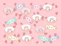 Funny vector background with cute cartoon donut and candy characters . Stock Image