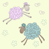 Funny vector background with soft colored cute cartoon sheep Royalty Free Stock Photography