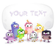 Funny vector banner with cartoon birds. stock illustration