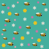 Funny vector bees with flowers. Vector Children`s background with bees stock illustration