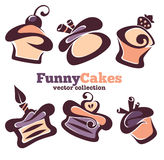 Funny vector cakes Stock Photos