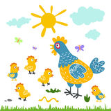 Funny vector cartoon colorful hen and chicks  background Royalty Free Stock Image