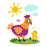 Funny vector cartoon colorfull hen and chicks  background Stock Photo