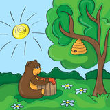 Funny vector cartoon - cute bear with honey. Funny vector cartoon scene cute bear with honey Stock Image