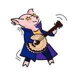 Funny vector cartoon rockstar pig with guitar vector illustration