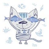 Funny Vector Cat with Fishes Stock Photo