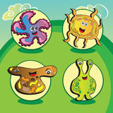 Funny vector characters -  Set of four elements Royalty Free Stock Images