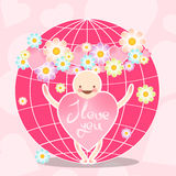 Funny vector characters. A smiling man with the body of a heart of pink color and pink globe with a wreath of flowers. Royalty Free Stock Photos