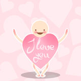 Funny vector characters. A smiling man with the body of a heart of pink color. Vector greeting on Valentine`s Day. Stock Photo