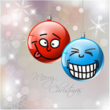 Funny Vector Christmas baubles with faces Royalty Free Stock Image