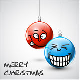 Funny Vector Christmas baubles with faces Stock Photography