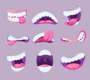 Funny vector comic mouths expressing different emotions. Fun pharynx with tooth and pink tongue illustration Royalty Free Stock Photography