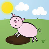 Funny vector cute cartoon pink pig jump into the puddle of mud Stock Image