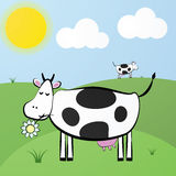 Funny vector cute cartoon white cow Stock Image