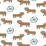 Funny vector dachshund illustration. Dog fart with surprised face. Cartoon puppy making gas, bad smell humor print. Ugly Royalty Free Stock Photo