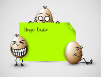 Funny vector easter card with eggs Royalty Free Stock Images