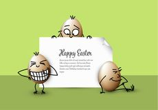Funny vector easter eggs - Happy green Easter Card Royalty Free Stock Images