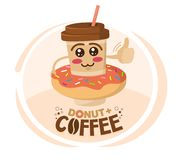 Funny vector illustration of cartoon character coffee cup wore a donut. Coffee shop concept.  royalty free illustration