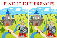 Funny Vector illustration - Find 10 differences. Funny Vector illustration (EPS 8): Find 10 differences - Funny Warrior and Castle royalty free illustration