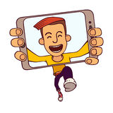 Funny vector illustration of jumping guy taking a self snapshot isolated on white background. Selfie of running guy. Funny jumping guy taking a self snapshot Stock Images