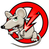 Funny Vector Illustration: NO RATS Symbol. Pest Control Sticker. Cartoon Rat in the Red Circle vector illustration
