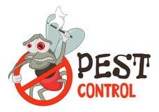Funny vector illustration of pest control logo for fumigation business. Comic locked mosquito. Design for print, emblem, t-shirt. vector illustration