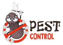 Funny vector illustration of pest control logo for fumigation business. Comic locked spider. Design for print, emblem, t-shirt. vector illustration