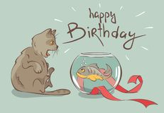 Birthday card, fish -- the best gift for a cat. Funny vector illustration surprised cat and a piranha in an aquarium Royalty Free Stock Photography