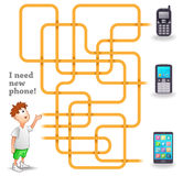 Funny Vector Maze Game: Boy and New Mobile Phone Stock Images