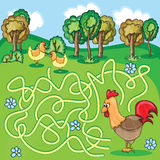 Funny Vector Maze Game - Cartoon Chicken. Funny Maze Game -  Cartoon Chicken Farm Style - vector Illustration Royalty Free Stock Image