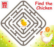 Funny Vector Maze Game with Cartoon Chicken. Funny Vector Maze Game: Cartoon Chicken Finds Baby Chicken. Vector Illustration Royalty Free Stock Photo