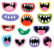 Funny vector monster mouths, open and closed. With tongues and teeth for birthday party designs vector illustration