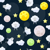 Funny vector pattern background with clouds, stars, bright plane Stock Image