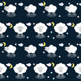 Funny vector pattern background with clouds, stars and cute shee Stock Photo