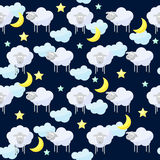 Funny vector pattern background with clouds, stars, moon and cut Royalty Free Stock Photography