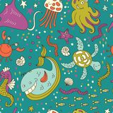 Funny vector sea  pattern Royalty Free Stock Photography