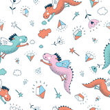 Funny vector seamless pattern. Cute hand drawn doodle Stock Photo