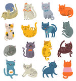 Funny vector set of cats. Collection of cute characters Royalty Free Stock Photos