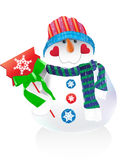 Funny vector snowman. Funny  snowman in scarf Royalty Free Stock Photos