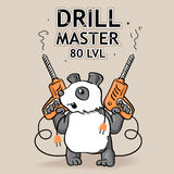 Funny Vector Sticker: Cartoon Panda - The Drill Master. Of 80 Level. Hand Drawn Postcard Illustration about Drill Stuffs. T-Shirt Design stock illustration