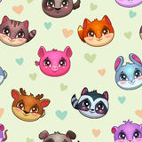 Funny vector texture with cute animal faces Royalty Free Stock Photos