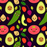 Funny Vector Vegetables Seamless Pattern Stock Photos